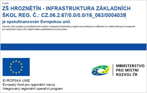 ZŠ Hroznětín - Infrastruktura základních škol